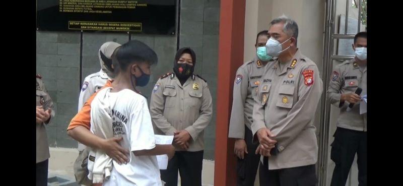 Seorang anak yang terlibat demonstrasi, Rabu (14/10/2020). Alinea.id/Foto dokumentasi Polda Metro Jaya.